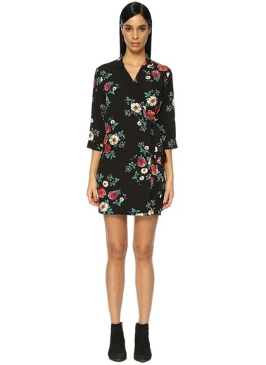 Glamorous V Yaka Çiçekli Mini Elbise Renkli